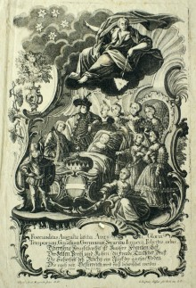 Allegorical glorification of Maria Theresa's fecundity, copperplate engraving