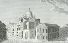 Hofburg, the old Burgtheater and the Winter Riding School, copperplate engraving