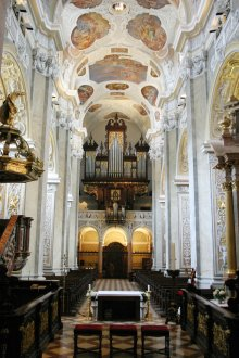 Interior of the abbey church of Klosterneuburg, early Baroque fittings and decoration: organ and organ loft...