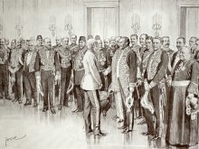Theo Zasche: The diplomatic corps being presented to the Emperor, drawing, 1898
