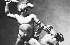 Antonio Canova: Theseus vanquishing the centaur Phereus, marble sculpture, photograph, c. 1875
