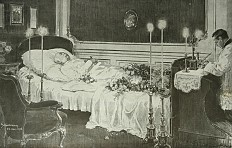 Tuszynski: Emperor Franz Joseph on his deathbed, drawing, 1916
