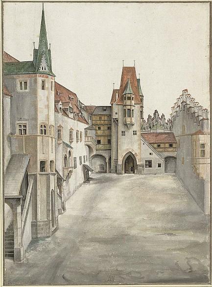 Albrecht dürer hof der innsbrucker burg ohne wolken aquarell um