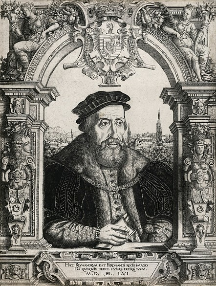 Hanns Sebald Lautensack: Ferdinand I, 1556, copperplate engraving