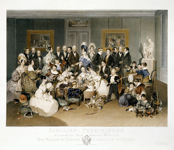 Johann Passini after Peter Fendi: Family portrait of Empress Karoline Auguste, print after a watercolour, 1834
