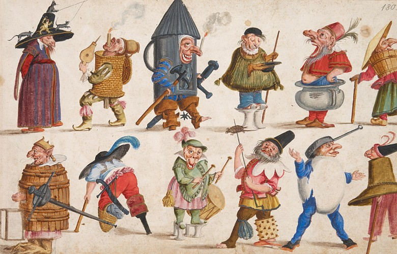 Lodovico Ottavio Burnacini: Costume sketches: 'Nani e Maschere ridicole', c. 1680, watercolour and opaque c...