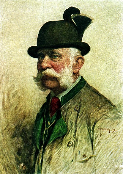 Oskar Brüch: Kaiser Franz Joseph in Jagdkleidung, Brustbild, 1909, Druck - oskar_bruech_kaiser_franz_joseph_in_jagdkleidung_brustbild_1909_druck_original