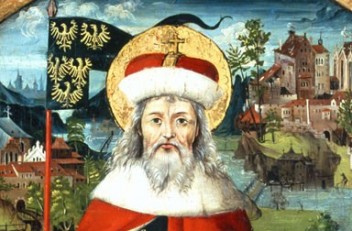 St Leopold III, in the background Klosterneuburg, Babenberg Genealogical Tree, c. 1490