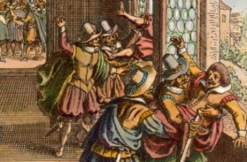 Matthäus Merian the Elder: The Defenestration of Prague, copperplate engraving